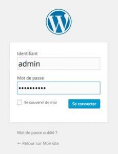 wordpress connexion a l'administration du site